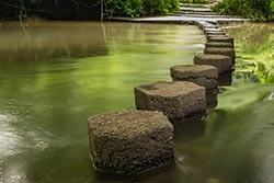 stepping stones across Mole River